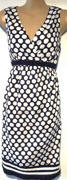 JOJO MAMAN BEBE NAVY SPOTTY PRINT MATERNITY & NURSING DRESS SIZE 8